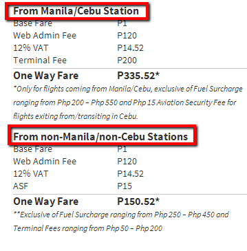 Cebu Pacific Web Admin Fee