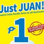 Cebu Pacific PISO FARE 2015 Promo: NO FUEL SURCHARGE