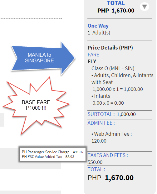 Manila to Singapore 1000 Base Fare