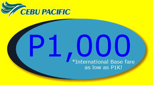 Cebu Pacific Promo to Singapore HongKong