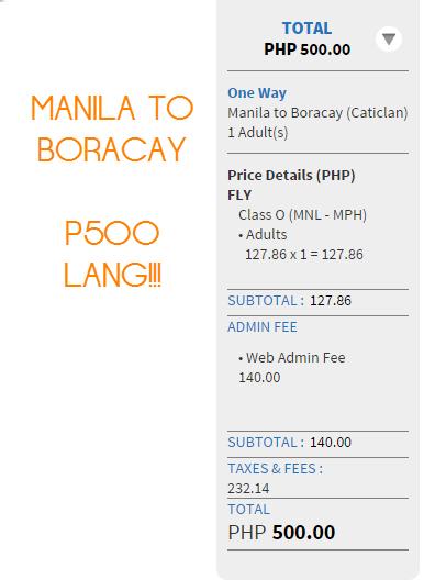 Promo fare Manila to Boracay