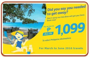 Cebu Pacific Promo Fare for March, April, May and June 2016 Domestic and International Travel