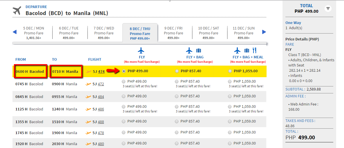 Booking Guide Step 2- Flight_time_and_fare