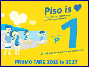 Cebu Pacific PISO FARE Domestic and International Promo 2016 to 2017