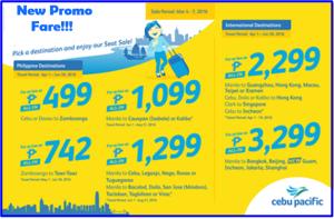 New Cebu Pacific 499 Promo Fare and More Cheap Flights, April, May and June 2016