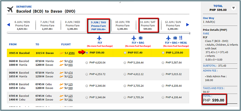 Bacolod_To_Davao Promo Fare 2016
