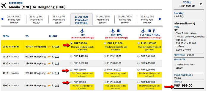 Manila to Hongkong Seat Sale