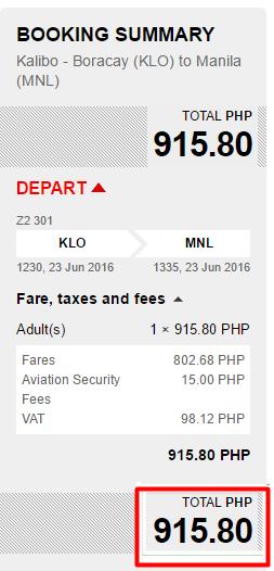 Boracay to Manila Promo