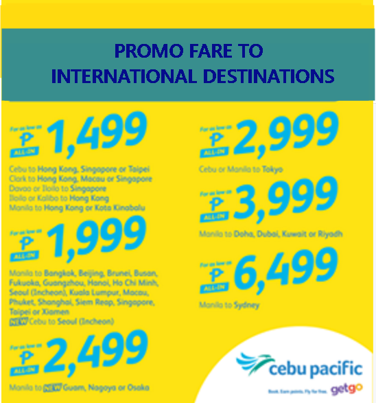 Cebu Pacific Promo Tickets 2016