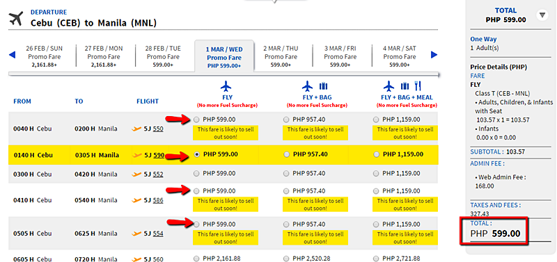 Cebu to Manila Seat Sale sample booking