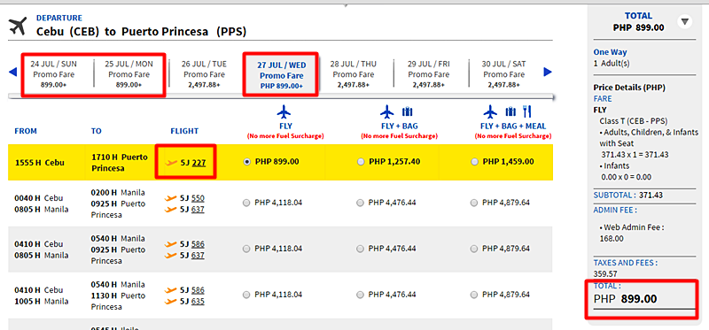 Cebu to Puerto Princesa Promo Ticket