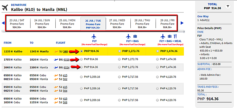 Kalibo_to_Manila Seat Sale