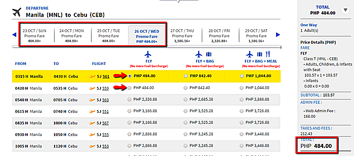 Manila to Cebu Piso Fare 2016