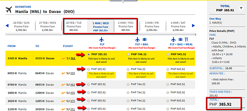Manila to Davao Piso Fare 2017