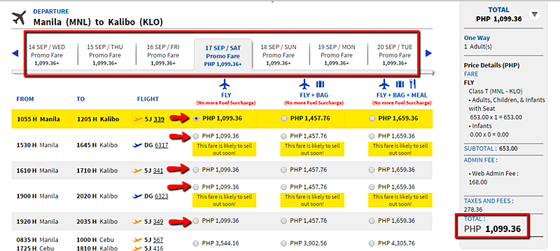 Manila to Kalibo Promo Flight