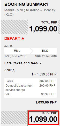 Manila to Kalibo Seat Sale