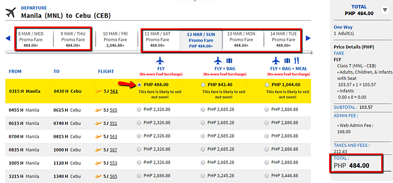 Promo seats Manila to Cebu