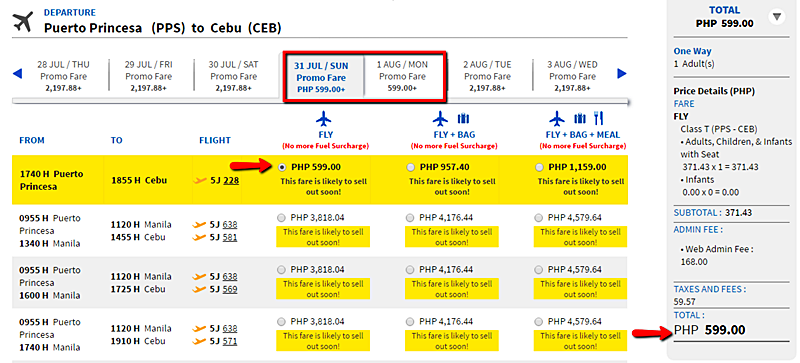 Puerto Princesa to Cebu promo fare
