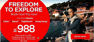 Air Asia Zest Promo as Low as P988 June-November 2016