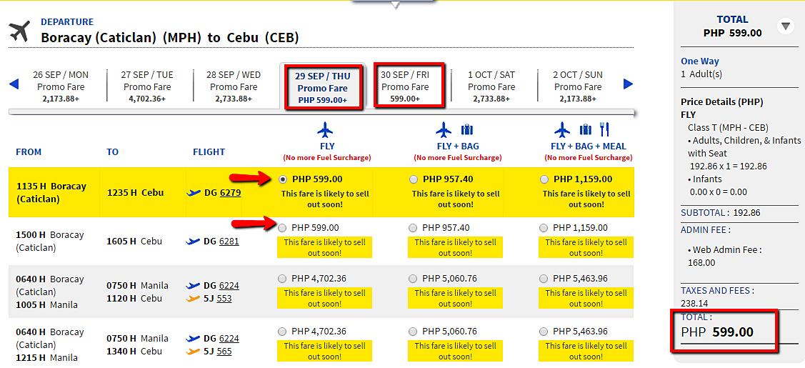 Boracay to Cebu Promo Fare Ticket