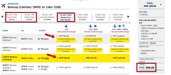 Boracay to Cebu Seat Sale 2016