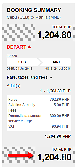 Cebu to Manila Promo Ticket