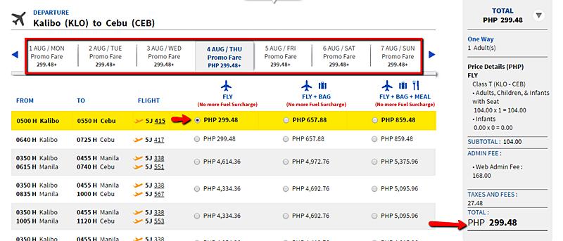Kalibo to Cebu Promo Seat 2016