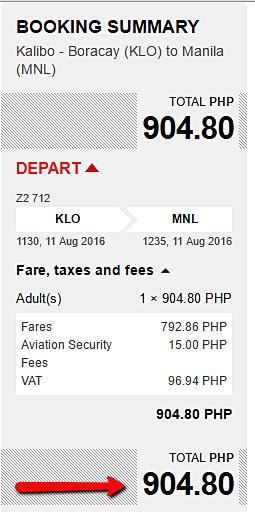 Kalibo to Manila Promo Fare