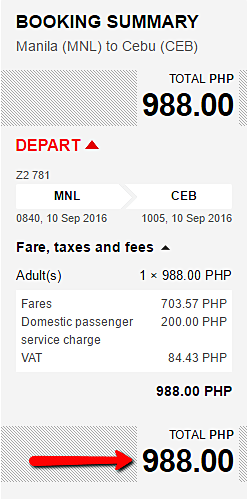Manila to Cebu Promo Fare