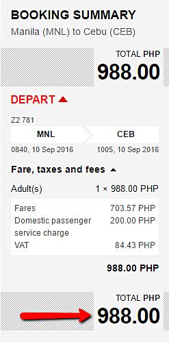 Manila to Cebu Promo Fare