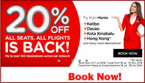 Air Asia 20% Off Promo July-November 2016 All Destinations