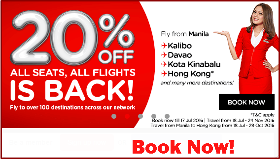 Air Asia 20% Off Seat Sale