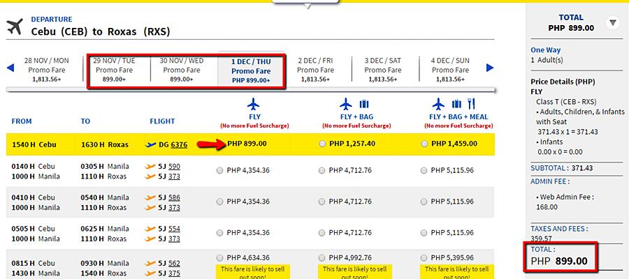 Cebu Pacific Promo Cebu to Roxas