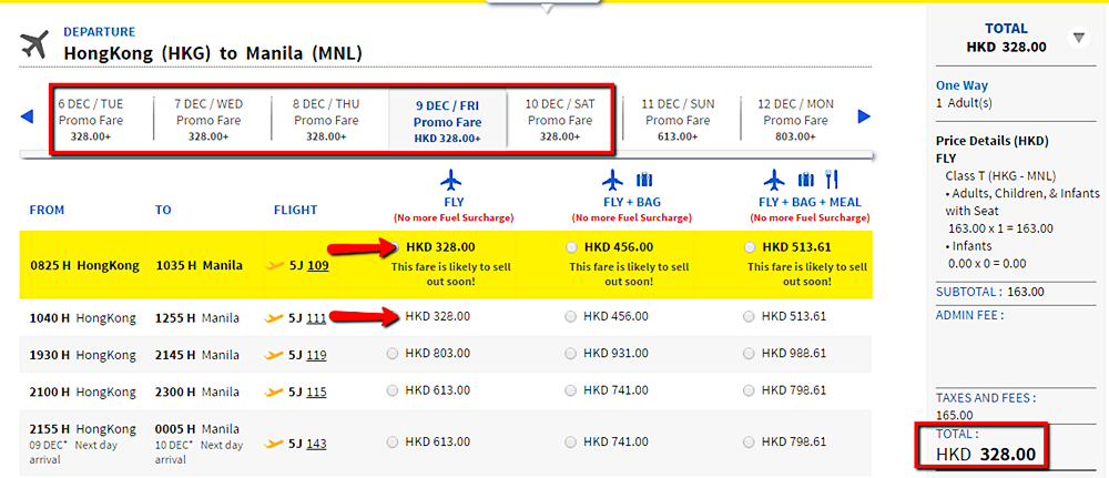 Cebu Pacific Promo Fare Hongkong to Manila
