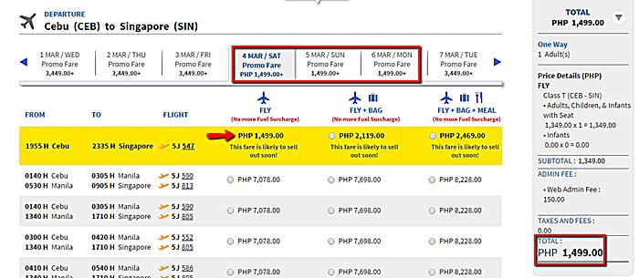 Cebu Pacific Promo Seat Cebu to Singapore