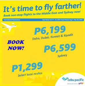 Cebu Pacific Seat Sale August-November 2016