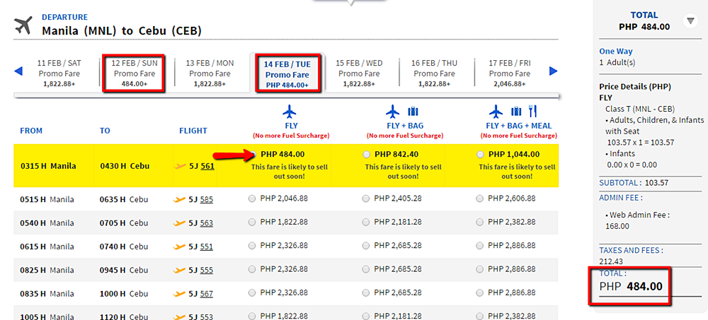 Manila to Cebu Promo Fare Ticket 2016