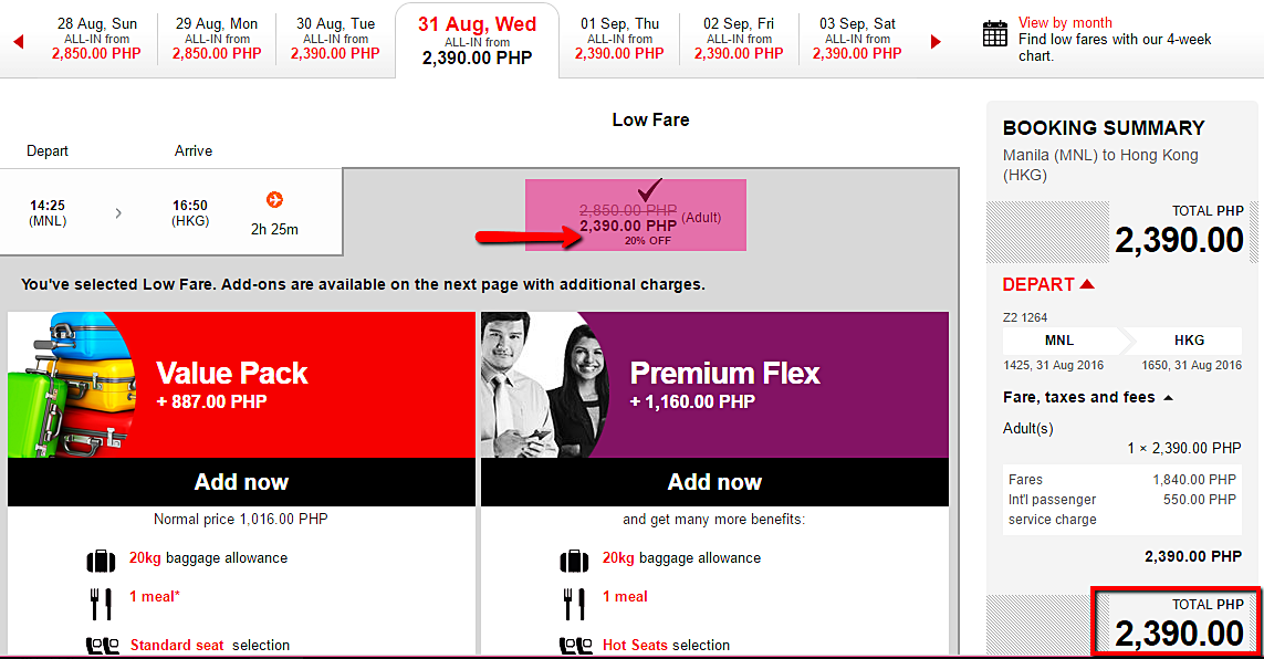 Manila to Hongkong Air Asia Seat Sale