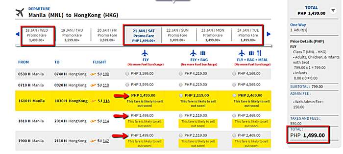 Manila to Hongkong Promo Flight
