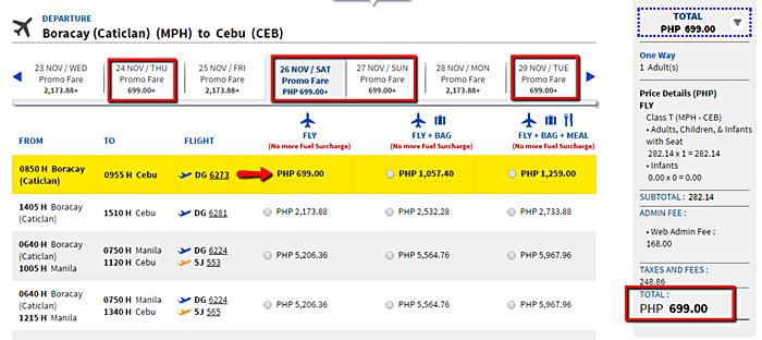 Promo flight Boracay to Cebu