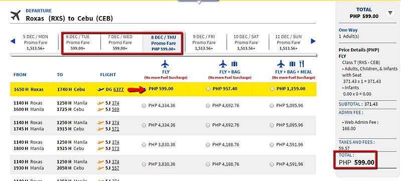Roxas to Cebu Seat Sale