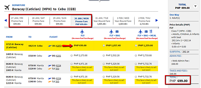 Boracay to Cebu promo flight