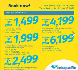 Cebu Pacific Promo Starts at P1,499 Select International Routes