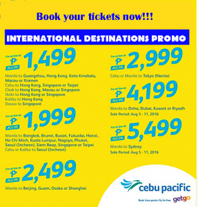 2017 Cebu Pacific P1,499 Seat Sale International Routes