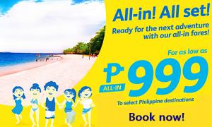 Cebu Pacific Promo Starts at P999 September-December 2016