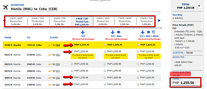Manila to Cebu Promo Flight