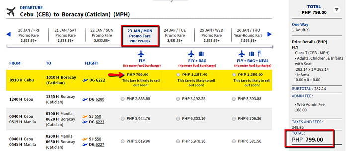 Piso fare Cebu to Boracay