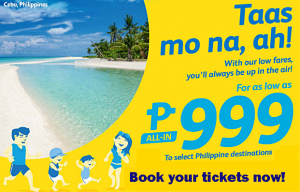 Cebu Pacific as low as P999 Promo 2016-2017