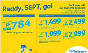 As low as P784 Cebu Pacific January, February, March 2017