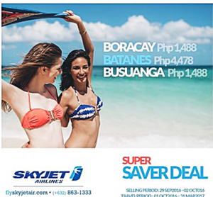 Skyjet BATANES, Boracay, Coron Sale Tickets October 2016-March 2017